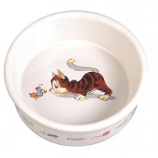 Castron Ceramic Pisica 0.2 l/11 cm Alb 4007
