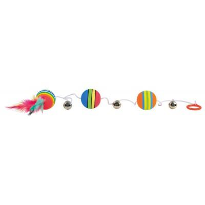 Jucarie 3 mingi Rainbow cu Clopotel Pe Sfoara 3.5 cm 4133
