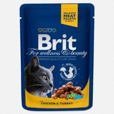 Brit Premium Cat plic cu carne de pui si curcan 100 gr