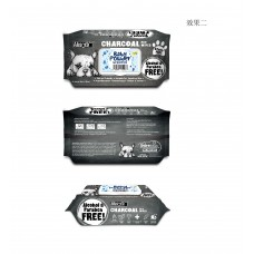 Charcoal Pet WET Wipes, BABY POWDER- pachet 80 buc