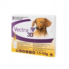 VECTRA 3D SPOT ON (Talie foarte mica 1,5-4 Kg)- 3 PIPETE